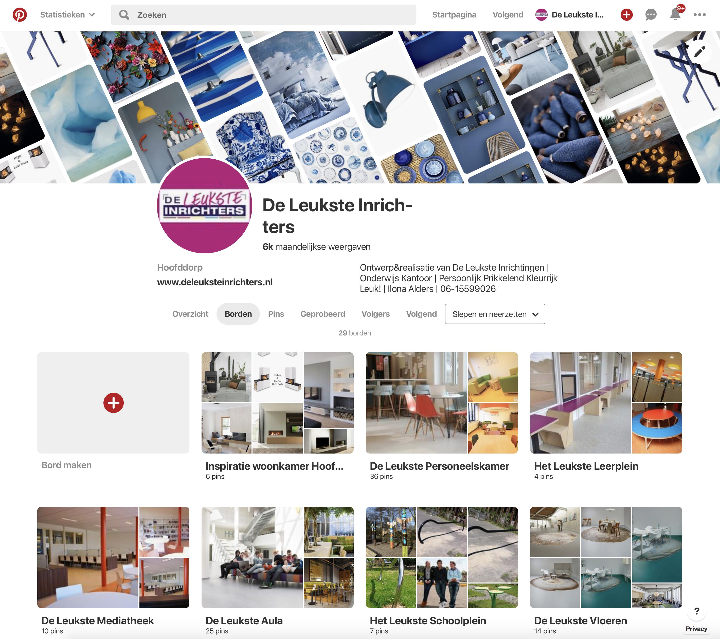 Printscreen Pinterest borden pagina De Leukste Inrichters