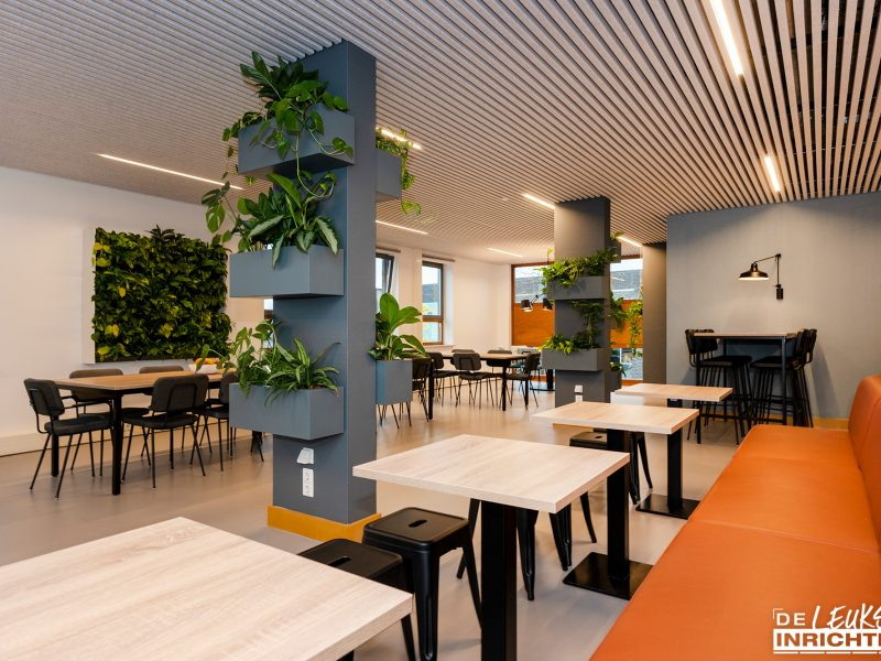 Personeelskamer Haarlemmermeerlyceum ontwerp en realisatie gezonde groene werkomgeving