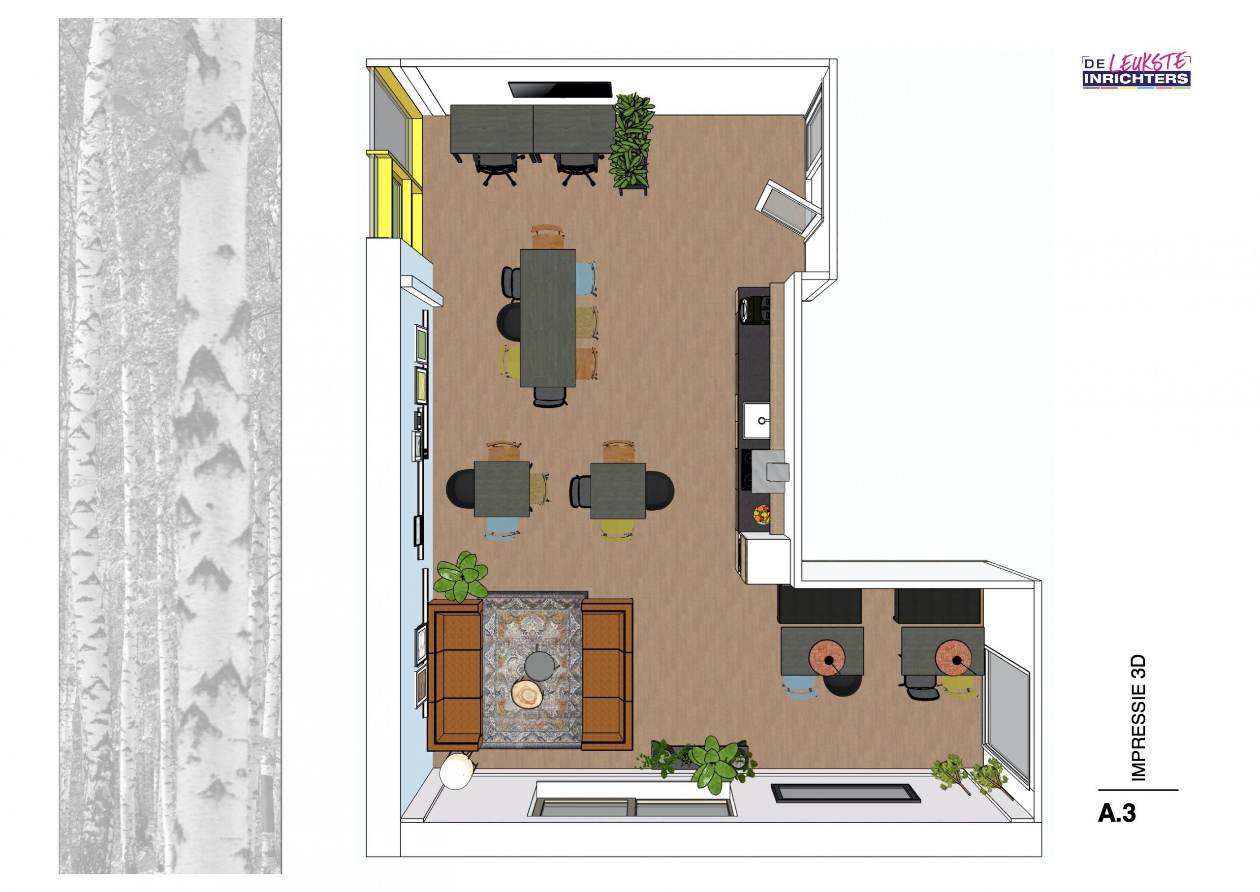 Willem de Zwijgerschool teamkamer 3D plattegrond